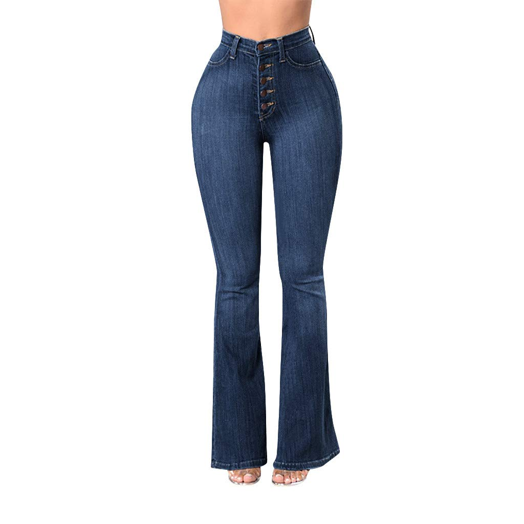 42790df8285 KIKOY Fashion Women Elastic Plus Loose Denim Button Casual Boot Cut Pant  Jeans at Amazon Women s Jeans store