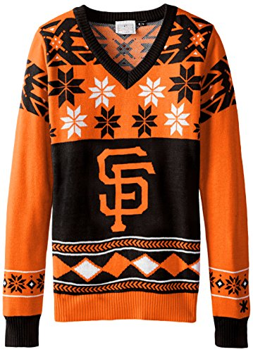 FOCO San Francisco Giants Womens Big Logo V-Neck Sweater Large