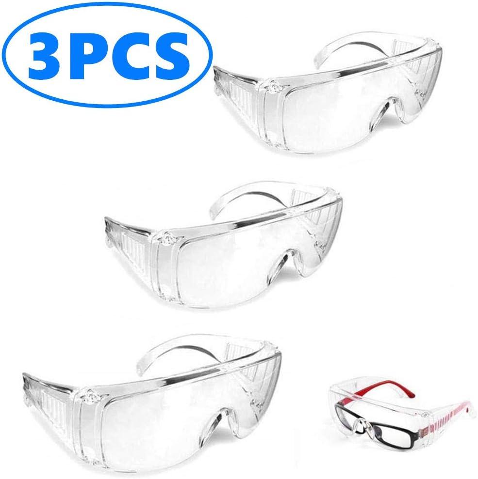 Giaowoli Gafas Protectoras, Gafas Protectoras de Seguridad Transpirables, Gafas Protectoras a Prueba de Polvo para Laboratorio Industria Agricultura
