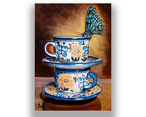 Polish Pottery Butterfly Teacups Stacked Art Print Giclee for Coffee Kitchen Wall Decor, mat (Cottage Teacup)