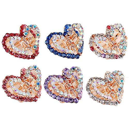 6pcs Hair Claw Crystal Alloy Loving Heart Mini Hollow Hair Clip Hair Claw Hair Clamps for Children Kids Girl