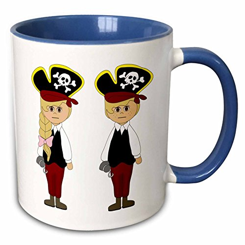 3dRose Anne Marie Baugh - Halloween - Cute Boy and Girl Dressed As Pirates For Halloween Illustration - 15oz Two-Tone Blue Mug (mug_216818_11) ()
