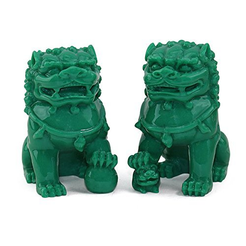 """Feng Shui Pair of 3"""" Green Fu Foo Dogs Guardian Lion Wealth Protection Statue Figurine Paperweights Housewarming Congratulatory Gift US Seller"""
