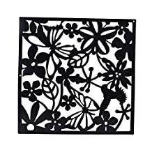 MagiDeal Pack of 4 Butterfly Flower Hanging Screen Curtain Room Divider Partition Wall 3 Colors - Black