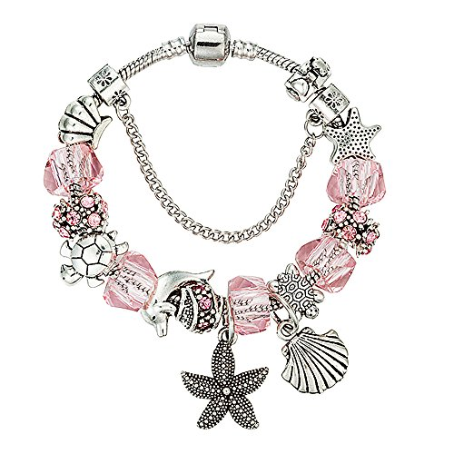 Charm Bracelet for Women Teen Girls Pink Sea Star Fish Seashell Turtle Dangle Beaded Wrist Bangle 8.3'' (Pink Charm Beaded)