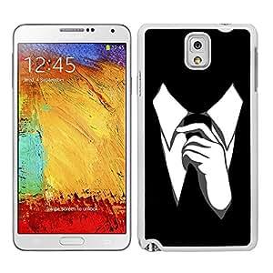Funda carcasa para Samsung Galaxy Note 3 diseño corbata fondo negro borde blanco