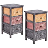 Giantex 2PCS Bedroom Bedside Nightstand Table Wooden Cabinet Storage Furniture 3 Drawers
