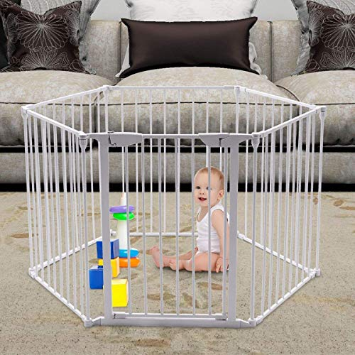 Teekland White Baby Safety Gate/Baby Protect Walls/Fireplace Fence/Dog Gates Indoor/Play Yard with Door,6 Panels Fireplace Extended Metal Fence for Pet/Toddler/Dog/Cat/Christmas Tree by Teekland (Image #1)