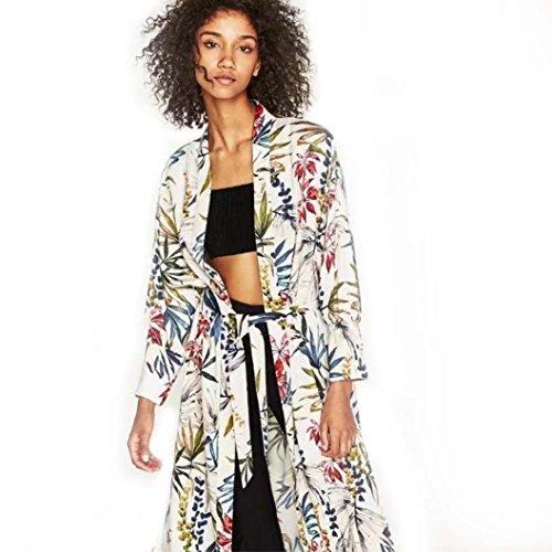 Classic Pinstripe Coat (2017! Litetao FEITONG Bohemia Floral Tassel Long Kimono Oversized Classic Shawl Tops (S, Beige))