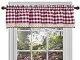 Sweet Home Collection Buffalo Check Gingham Kitchen Curtain Valance, 14″ x 58″, Burgundy For Sale