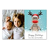 30 Christmas Family Photo Card Holiday Greeting Personalized Raindeer Photo Paper
