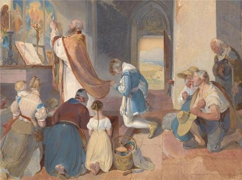 Fox Illusion Tee (Oil Painting 'Fridolin Assists With The Holy Mass, 1833 By Peter Fendi' 30 x 40 inch / 76 x 102 cm , on High Definition HD canvas prints is for Gifts And Bar, Basement And Hallway Decoration)