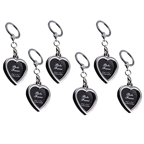 OULII Picture Photo Frame Keychains Key Rings Mini Metal Keyfob Gift for Couple and Family 6Pcs (Heart)