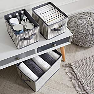 Meshkey Foldable Storage Boxes With Removable Lid [Set of 3], Fabric Organiser Cubes with Handles, Large and Small box – Perfect For Home, Wardrobes, makeup (Grey and White)