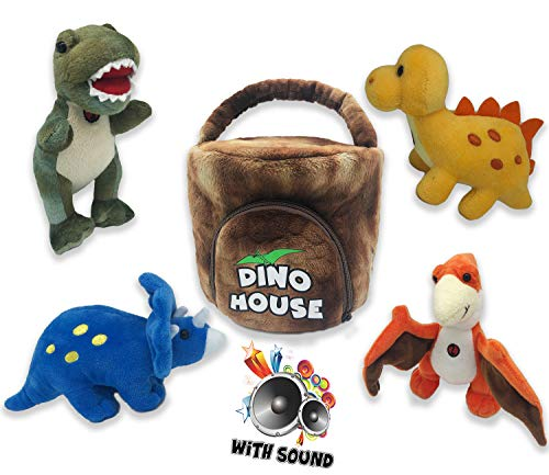 Plush Talking Dinosaur Set with Carrier [Set of 4 Dinos] | Stegosaurus, Pterodactyl, Triceratops, & Tyrannosaurus Rex Toy Set for Boys & Girls