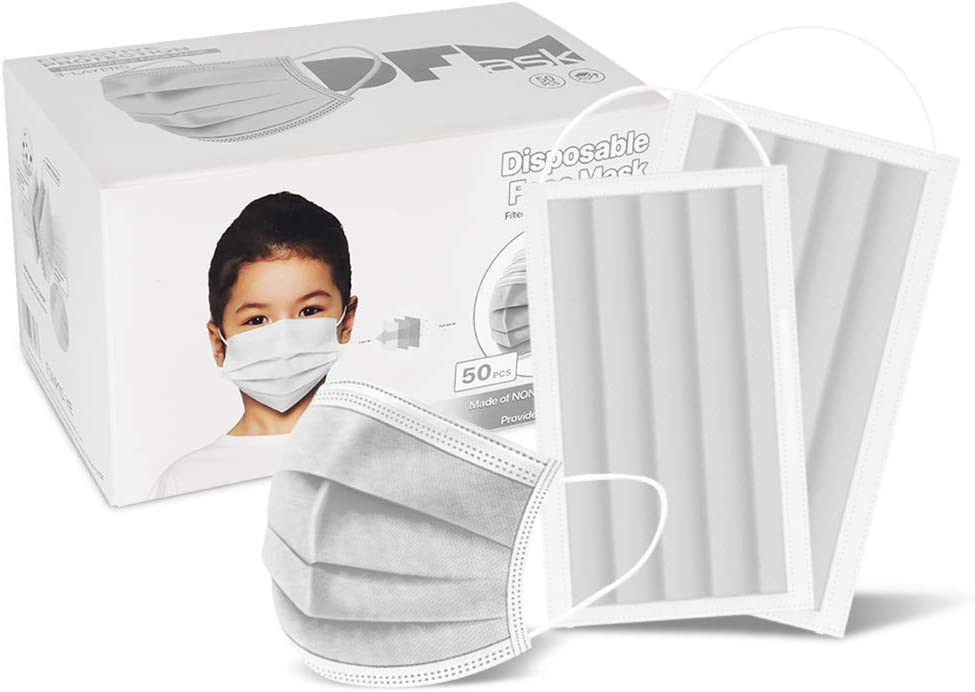 Child 50 Pc (White) 3-Ply Disposable Face Mask Earloop Protective Mouth Cover- White for Kid