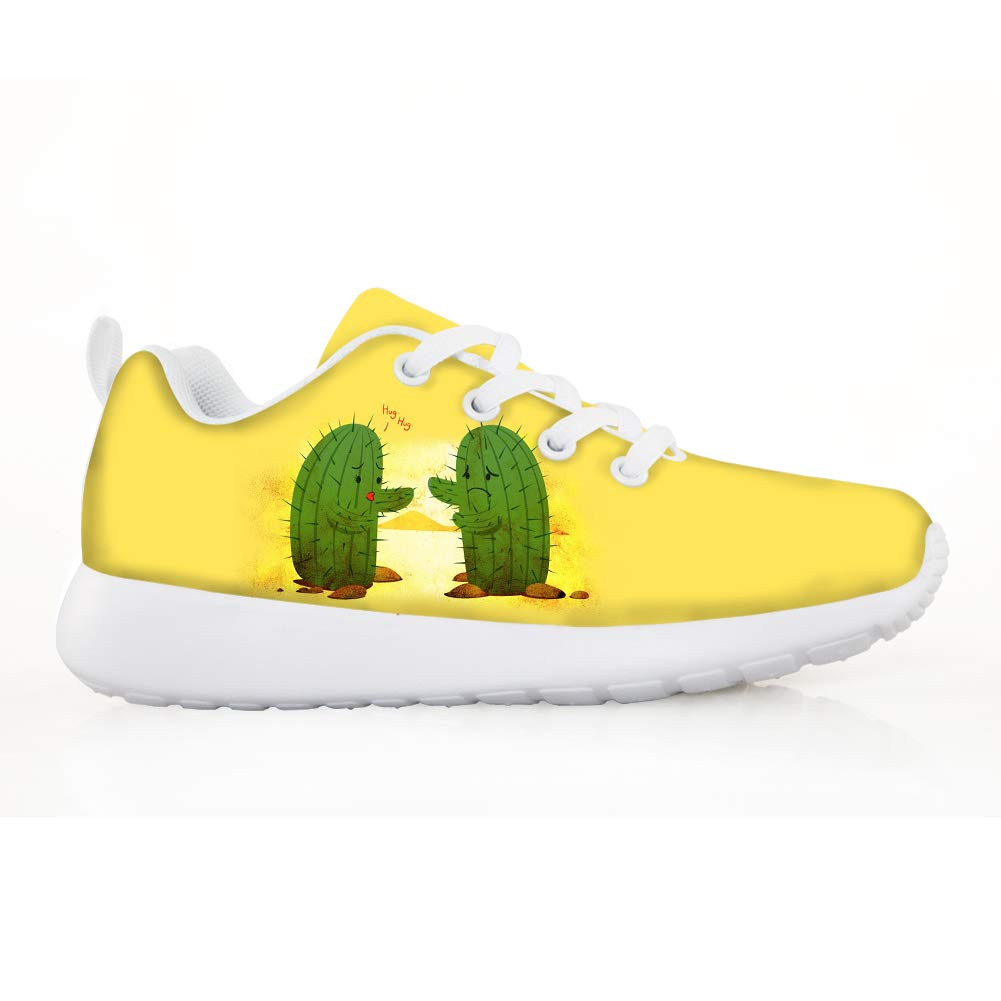 Owaheson Boys Girls Casual Lace-up Sneakers Running Shoes Eager to Hug Cacti Cactus Lovers