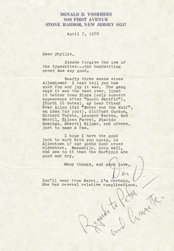 Amazon com: Donald Voorhees - Typed Letter Signed 04/07/1978
