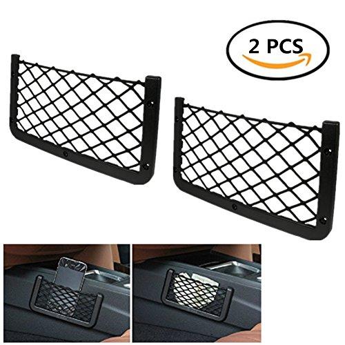 Suiez 2PACK Lightweight Frame, Mesh Retainer Universal Black Car Net Bag Phone Holder Storage Pocket Organizer