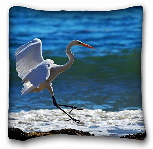 Decorative Square Throw Pillow Case Animals Birds animals birds cranes herons flight fly beaches shore ocean sea lakes wildlife feathers waves foam sunlight 18