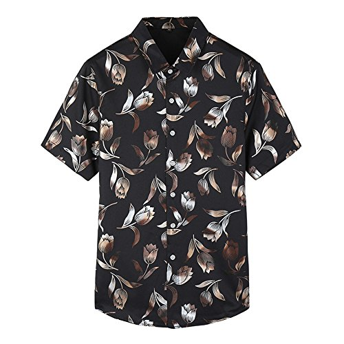 WEEN CHARM Men's Casual Floral Print Slim Short Sleeve Stretch Classic Woven Non Iron Gold Foil Shirt Black XL