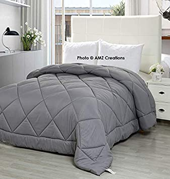 AMZ Ultra Soft Reversible Grey Color Microfiber Ac Comforter/Quilt/Duvet 250 GSM (Single Bed (60 x 90 Inches), Grey)
