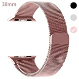 OULEDI Compatible Stainless Steel Band for Apple Watch Replacement Mesh Strap Bracelet for iWatch Series 1 Series 2 Series 3 Series 4 with Magnetic Closure Clasp 38mm 40mm Rose Gold