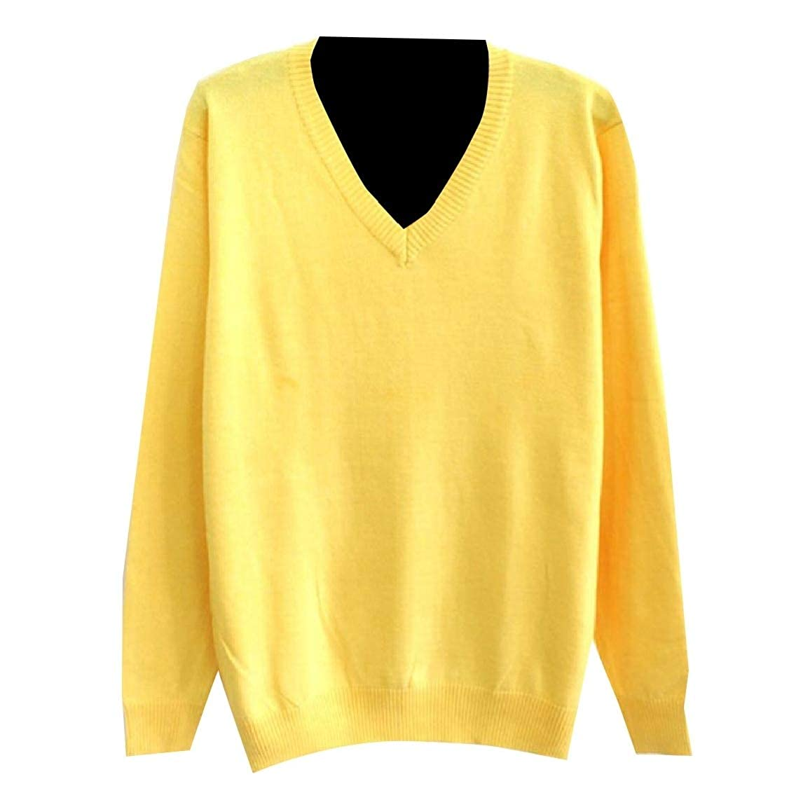 Andopa Mens V Neck Wool Solid Knit Business Relaxed Sweater Pullover