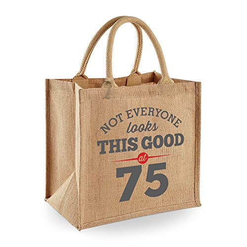 75th Birthday Keepsake Funny Gift Bag for Women Novelty Ladies Female Shopping Present Tote Idea