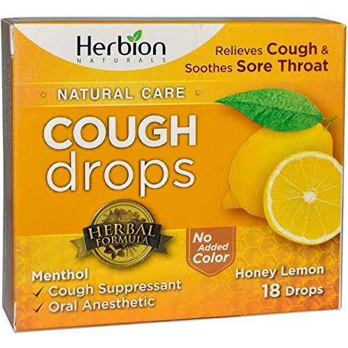 Throat Natural Lemon Sore (Herbion Naturals Cough Drops with Natural Honey Lemon Flavor, 18 Drops, Oral Anesthetic - Relieves Cough, Throat, Bronchial Irritation, Soothes Sore Mouth, For Adults and Children)