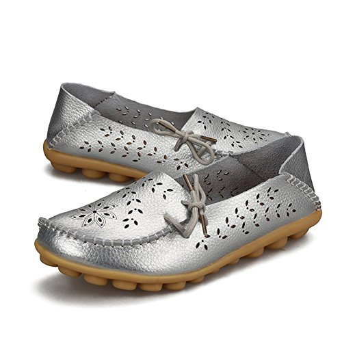 Flats Loafers H Casual Leather On silver Slip Women Shoes YIRUIYA gAqxff