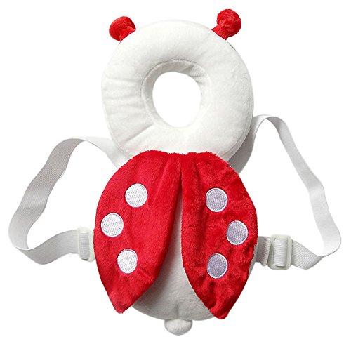 SoftWolf - Almohada de protección para la cabeza y el cuello para bebés, diseño de alas y abejas, Rojo
