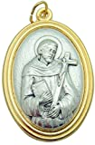 St Francis of Assisi Large 1 1/2 Inch Pendant Two Tone 3D Embossed Medallion Medal Silver Tone Metal Alloy Made in Italy