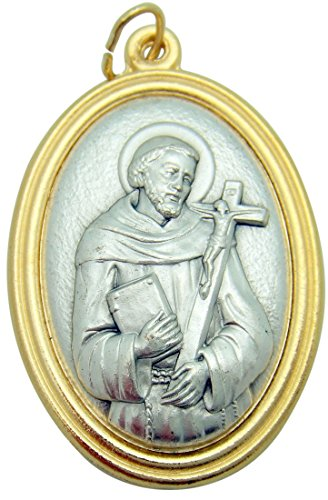 Collectible Silver Medallion - St Francis of Assisi Large 1 1/2 Inch Pendant Two Tone 3D Embossed Medallion Medal Silver Tone Metal Alloy Made in Italy