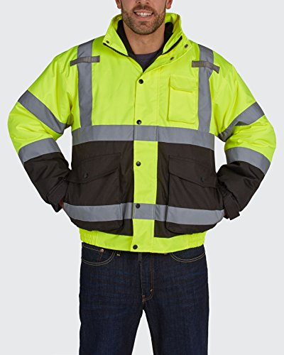 Utility Pro UHV563 Nylon/Polyester High-Vis Bomber Jacket with Zip-Out Fleece Liner with Dupont Teflon fabric protector,  Lime/Black,  X-Large