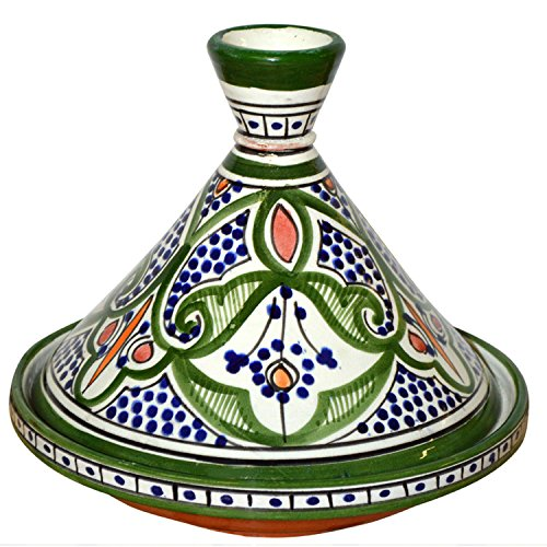 Verde Glaze Ceramic - Moroccan Handmade Serving Tagine Exquisite Ceramic With Vivid colors Original Medium 10 inches Across