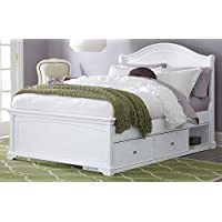 NE Kids Walnut Street Morgan Arch Bed with Storage, White, Full