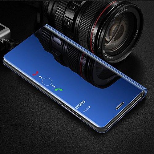 Huawei P9 Lite Hülle,Huawei P9 Lite Schutzhülle,Huawei P9 Lite Handyhülle Spiegel,Hpory Elegante Überzug Mirror PU Leder Slim Fit Wallet Tasche Flip Cover Ledertasche Brieftasche im Bookstyle Klapphül Spiegel,blau