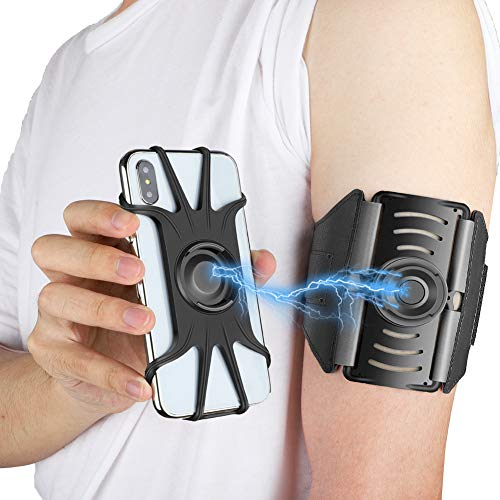 VUP Detachable Running Armband, 360 Rotatable Cell Phone Holder for iPhone Xs Max XR X 6 6S 7 8 Plus, Galaxy S9 S10 Note 9,