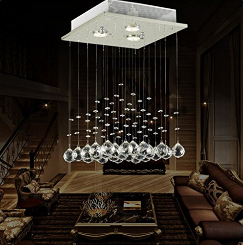Lightess Modern Chandelier Lights Rain Drop Crystal Lighting Fixture Pendant Ceiling Light