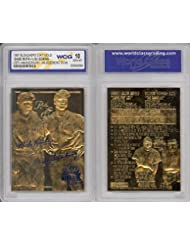 BABE RUTH & LOU GEHRIG Murderer's Row 23KT Gold Card Sculpted Graded GEM MINT 10