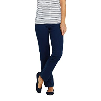 4f875311df9c Lands  End Women s Starfish Elastic Waist Knit Jeans Straight Leg Mid Rise  at Amazon Women s Clothing store
