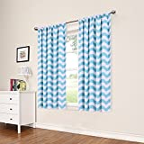 Eclipse My Scene Thermaback Blackout Wavy Chevron Window Curtain Panel, 42X63, Pool Blue