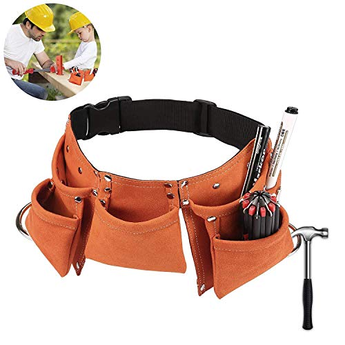 Children's Tool Belt, Northbear Kids Multi Pockets Leather Working Tool Utility Pouch Dress Up Role Play (Orange)