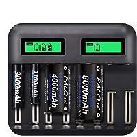 Carregador pilha Palo 8 slots USB AAA AA C D SC Ni-Mh Ni-Cd