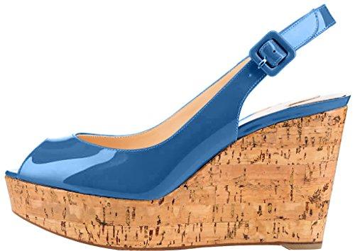Trusify Mujer 10cm EU tamaño 34-46 Truabsent Tacón ancho 10CM Sintético Sandalias de vestir Azul Royal