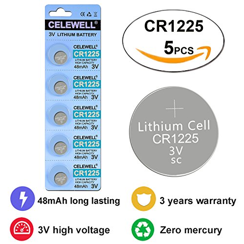 CELEWELL 5 Pack CR1225 3V Lithium Battery for Thermometer Watch Card Cmos Battery