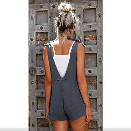 Chic Bleu Pants Body Femmes Couleur Romper Casual Lâche Playsuits Pure Jumpsuit Adeshop Combinaison D'été Straps Trousers Jumpsuits m Overalls Shorts Poches qPdWxRXFw
