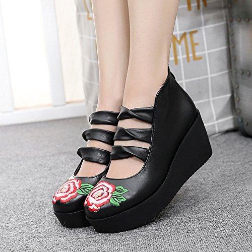 SSBY Zapatos De Suela Gruesa Cuñas Zapatos Zapatos De Primavera Muffin Con Spring Señoras Zapatos De Tacón Alto Impermeable Estilo Folclórico 6.5Cm black
