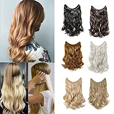 20''/24'' Wire in Synthetic Hair Extension Hidden Invisible Not Clip in Secret Miracle Headband Straight Wavy Blonde Brown